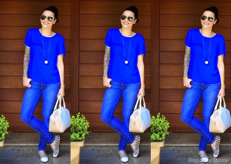 look jeans, azul e alpargatas