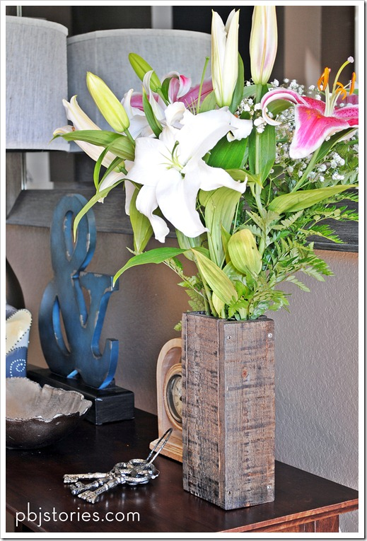 reclaimed wood vase