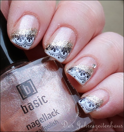 0 French Nail Art Baroque Gold Glitter 2