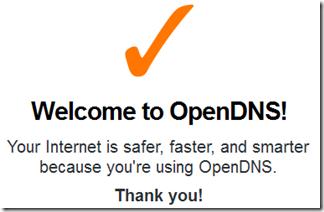 Messaggio DNS OpenDNS settato correttamente