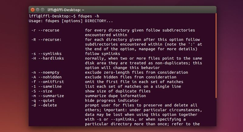 FDupes in Ubuntu Linux