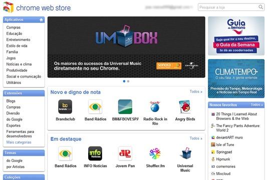 Chrome Web Store em portugues