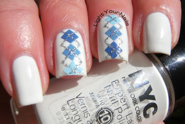 BPS blue and glitter plaid pattern + white skittlette