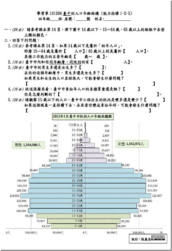 學習單101204台中的人口年齡結構B4