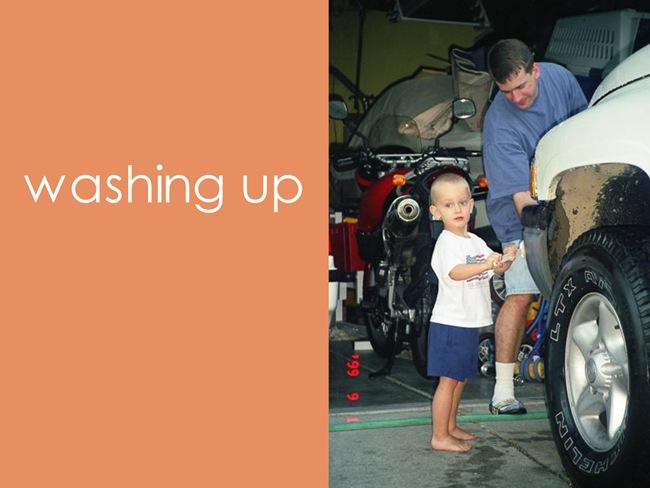 washing daddys mess