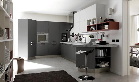 cocina en blanco y gris