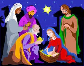 El niño Jesus en el fondo se puede ver una estrella