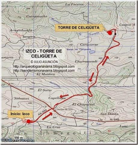 Mapa ruta al torreón de Celigüeta