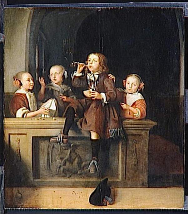 Pieter Cornelisz Van Slingelandt, Les bulles de savon