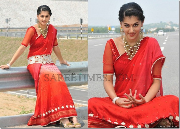 Taapsi_Red_Embroidery_Saree