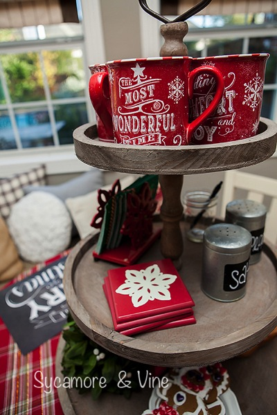 Most Wonderful Mugs for a fun cocoa hot chocolate bar. A truly stunning Christmas Home Tour as part of the Christmas in the Country Blog Tour. This Plaid Inspired Country Christmas will knock your socks off. Features tours of the Living room, Dining Room and a Cocoa hot chocolate bar in the Breakfast room. There is so much inspiration for Christmas decorations in this one post. Be prepared to feel like you are cuddled up by the fire in a warm Northwoods comfy cottage! #country #Christmas #Plaid #Holiday decorating #Holiday ideas #Holidays #Christmas decor #Holiday decor