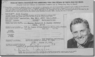 Kirk Douglas's 1960 Brazilian immigration card