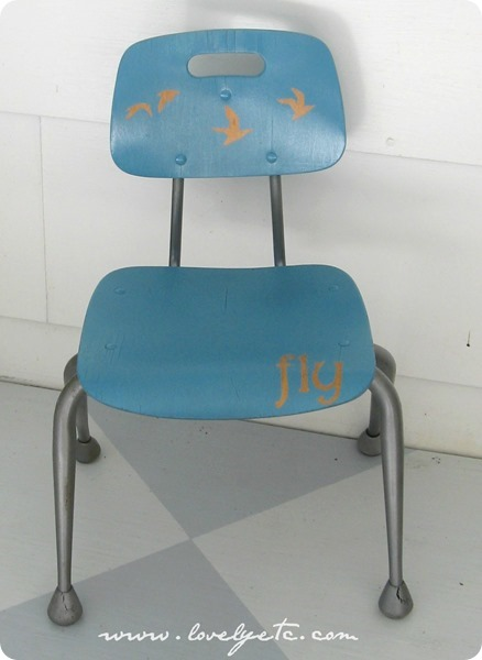 midcentury kids chair with birds