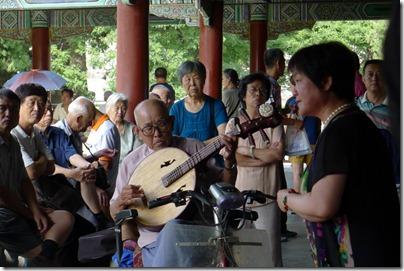Beijing: impromptu Opera singing in a park