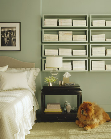 This minty-green is such a soothing color for a bedroom. (Martha Stewart Living)
