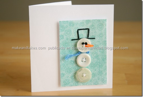 tarjeta del muñeco de nieve botón