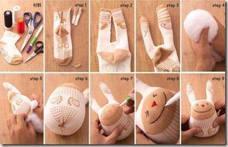 juguete hecho con calcetín paso a paso