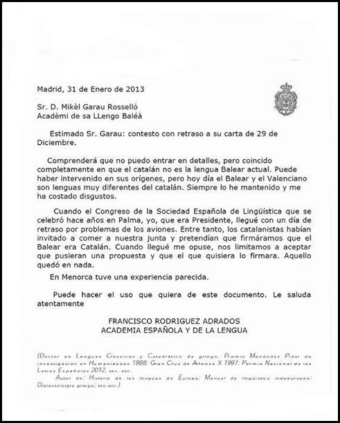 Escrito de acádemico de la lengua mallorquina