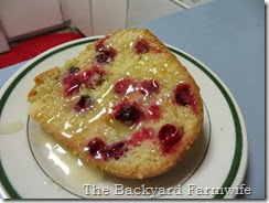 cranberry orange cake  with butter rum sauce - The Backyard Farmwife