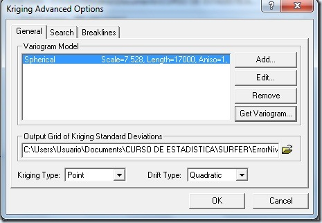 F20 Kriging Advanced Options General