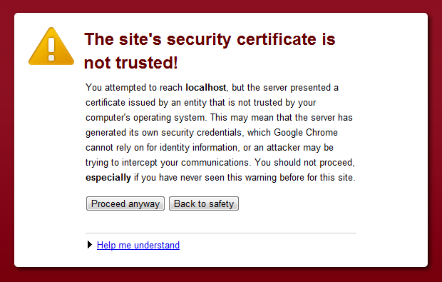 Chrome&#39;s warning about a self-signed certificate