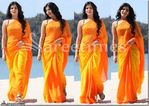 Samantha_Orange_Plain_Sari