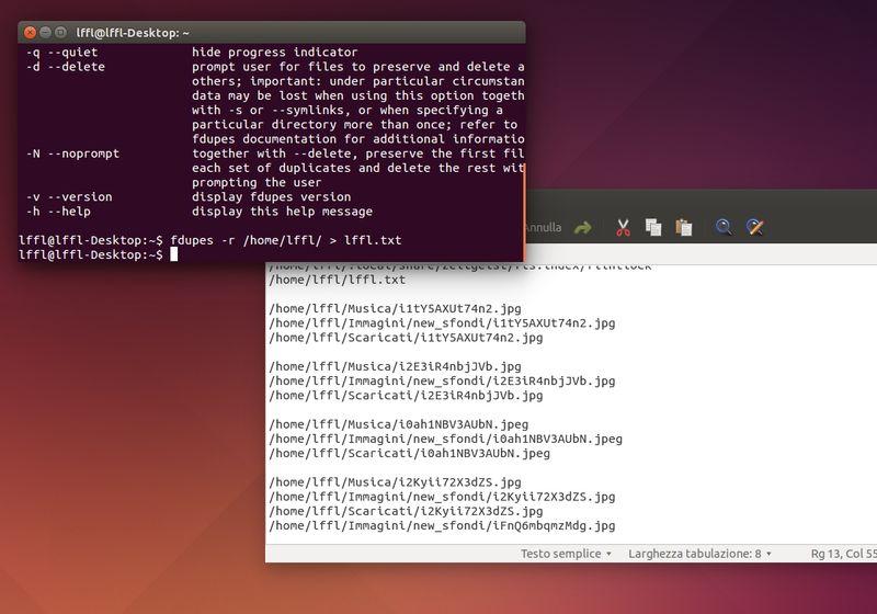 FDupes - Creazione file di testo