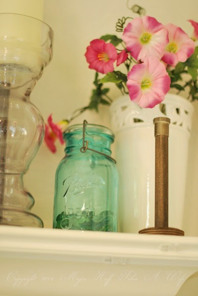 Spring mantel pretty violet candle holder ball jar