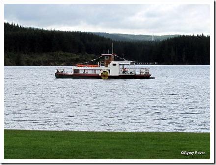 "Paddle Boat ""Otunui"" at anchor on Lake Maraetai."