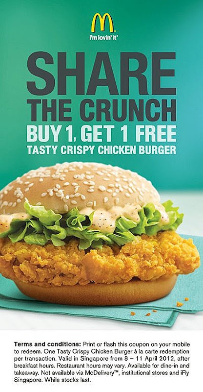 McDonalds Tasty Crispy Chicken Burger Offer Buy one get one FREE Flash the coupon on mobile to enjoy  offer after breakfast hour