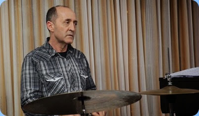 Jason Orme is one of Auckland's top drummers and even with just his sub-set of percussion the expression and rendering was superb. Quality not volume - drums can be overpowering in a some venue but Jason balanced with Ben and Maria exquisitely. Photo courtesy of Dennis Lyons.