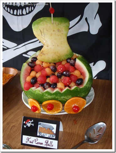 Pirate Ship shaped watermellon with fruit canon balls