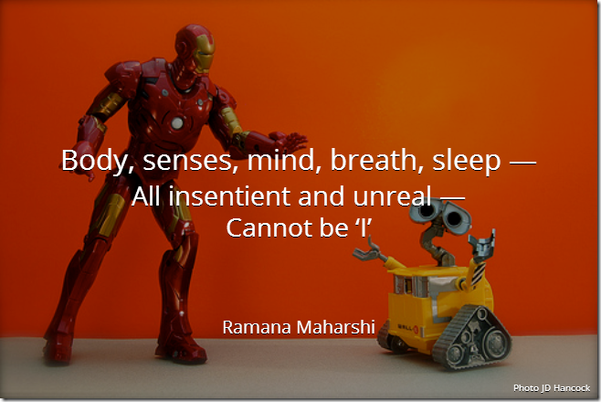 Body, senses, mind, breath, sleep — All insentient and unreal — Cannot be 'I'. [Ramana Maharshi]