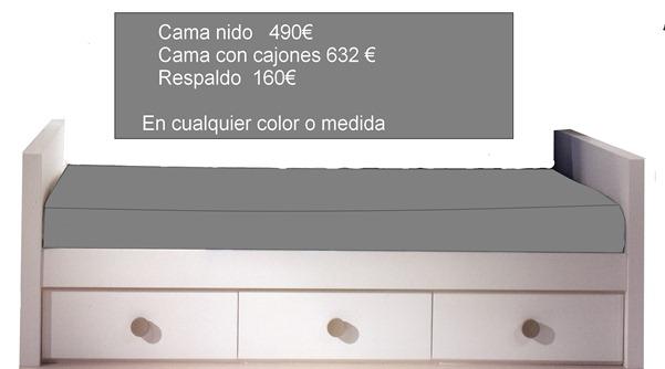 Camas con diversas formas y buen precio en madrid for Medidas cama nido con cajones