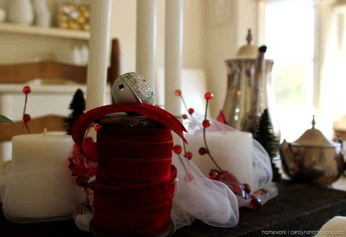 Red Velvet & White Tulle Holiday Tablescape via homework - carolynshomework (7)