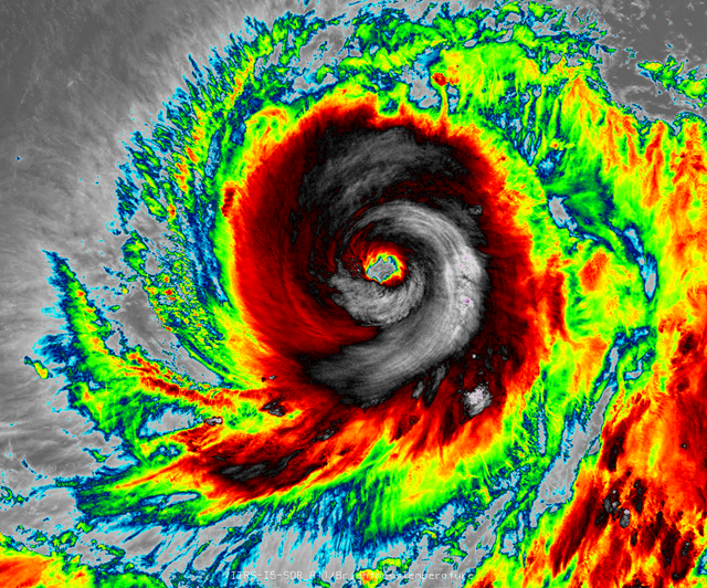 High resolution infrared satellite image of Typhoon Vongfong on Tuesday. Photo: NOAA/NASA and RAMMB/CIRA