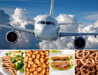 وجبات طعام في الطائرة