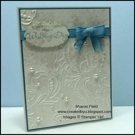 Wedding Card, Faux Mother of Pearls, Technique, Splitcoaststampers, Double loop bow, tutorial, Sharon Field, SUO, Pearls, Jewels, Wedding, stampin dimensionals, tip, Created By You