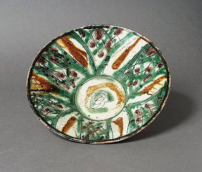 Bowl Iran, Nishapur Bowl, 10th century Ceramic; Vessel, Earthenware, color-splashed sgraffiato ware, 2 1/2 x 3 3/8 in. (6.35 x 8.57 cm) at base Art Museum Council Fund (M.68.22.7) Art of the Middle East: Islamic Department.
