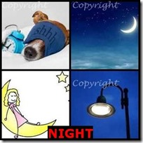NIGHT- 4 Pics 1 Word Answers 3 Letters