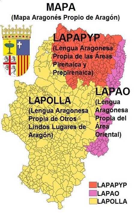 Mapa de las lengas d'Aragon