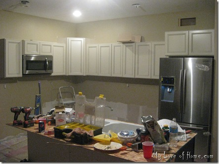 Cabinet installation, kitchen remodel