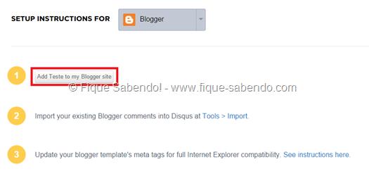 Clique em Add to my Blogger site