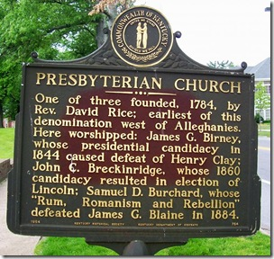 Presbyterian Church marker on Main Street in Danville, KY