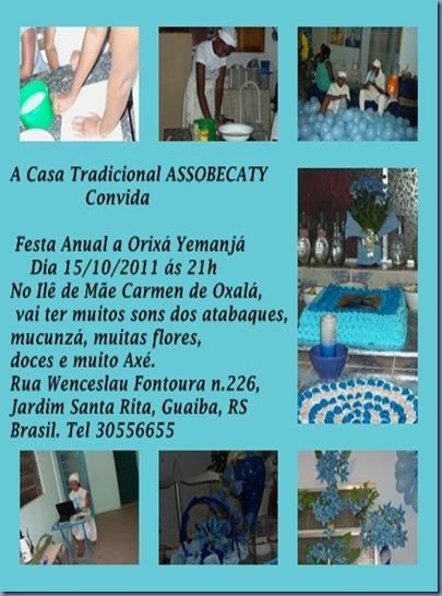 Convite Festa Anual a Orixá Yemanjá na ASSOBECATY