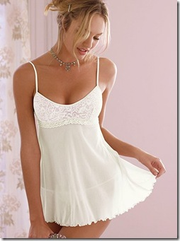 the lacie mesh and lace babydoll ivory