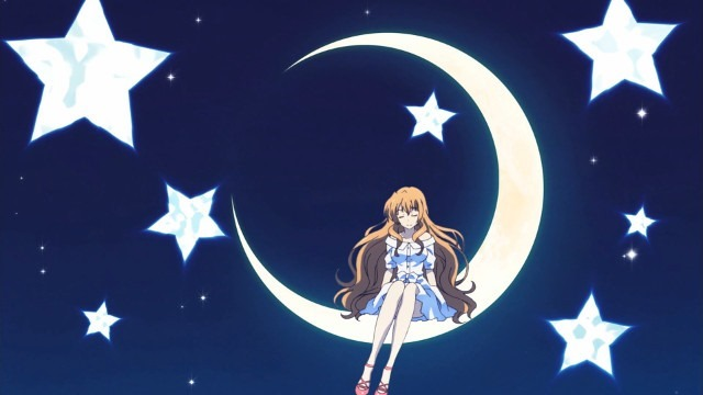 Storybook-style moon and stars with Koko sitting on the crescent moon