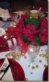Red poinsettia centerpiece 12.15.11