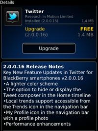Twitter untuk BlackBerry versi 2.0.0.16 Tersedia untuk di-Download