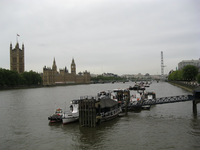 Along the Thames towards Parliament buildings, Victoria Tower & the Big Ben.